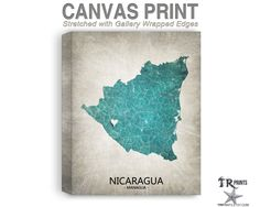 Nicaragua Map Stretched Canvas Print - Home Is Where The Heart Is Love Map - Original Personalized Map Print on Canvas by TRPrints on Etsy