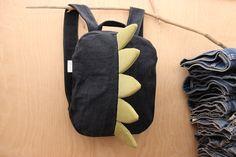 Black dragon backpack, dragon bag , unisex denim backpack , jeans kids toddler backpack , funy backpack , denim bag , childrens backpack by SecondBirthday on Etsy