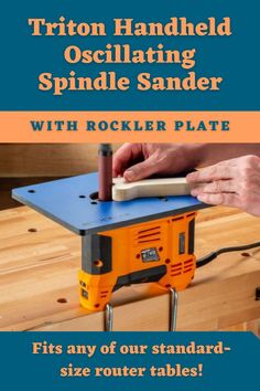 This spindle sander drops into any of our standard-sized Router Tables for stable tabletop sanding—pull it out easily for handheld sanding or storage. Let Rockler help you create with confidence today!  #createwithconfidence #rockler #router #triton #spindlesander