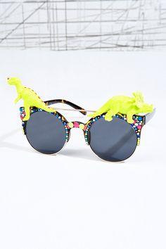 Spangled Disco Dino Sunglasses in Neon