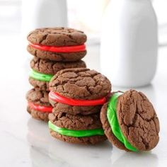 Chocolate Sandwich Cookies...I made these with chocolate chip cookies and canned frosting...added green M & M's for cookie monster!