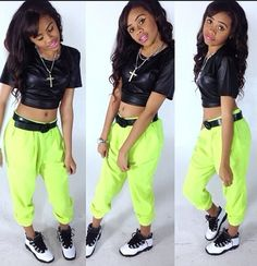 Neon Sweater Pants. Leather Midriff. Urban Fashion. Urban Outfit. Sneakers Outfit. Swag. Dope