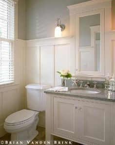 bathroom wainscoting and gorgeous paint color this could be a good approach to remodeling the master bath wainscot over the wallpaper instead of