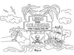 Libro de piratas para pintar y lavar