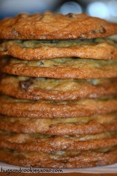 Thin and Chewy Chocolate Chip Cookies – Hugs and Cookies XOXO My son asked for thin chocolate chip cookies. Go figure! I have always loved a chocolate chip cookie as thick as I could possible make it! Thin Chocolate Chip Cookies, Chocolate Chip Cookies Ingredients, Chocolate Chips, Chocolate Cake, Almond Cookies, White Chocolate, Cookie Recipes, Dessert Recipes, Desserts