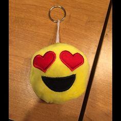 Emoji heart eyes keychain NWOT Emoji heart eyes keychain NWOT Accessories Key & Card Holders