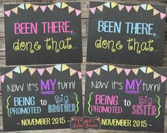 Set of 2 Chalkboard Pregnancy Announcement Photo Props - Been There, Done That... Now It's My Turn! Printable Signs / Baby Reveal Photoshoot