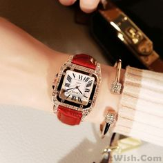 Shining Square Student Rhinestone Diamond Women Watch - - Size: Dial Dial Band band:leather Case:metal Style:fashion/retro/collegeFashion Element:Rhinestone Source by Simple Watches, Cute Watches, Retro Watches, Cheap Watches, Women's Watches, Elegant Watches, Sport Watches, Harajuku, Bag Women
