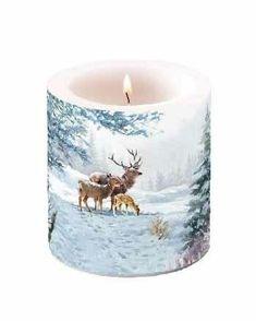 Kynttilä kaurisperhe 10 cm - Sisustusliike Cimla Interior Deer Family, Led Licht, Pillar Candles, Sweet Home, Candle Holders, Trends, Interior, Firs, Kraft Paper