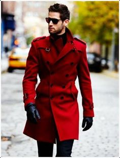 Red trench coat, dark blue chinos, black leather gloves - absolutely to Fashion Moda, Look Fashion, Winter Fashion, Fashion Ideas, Fashion Blogs, Fashion 2015, Womens Fashion, Sharp Dressed Man, Well Dressed Men