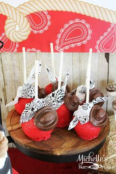 Look at these carameled apples at a Cowboy Roundup / farm themed birthday party! So Many fabulous ideas via Kara's Party Ideas! Full of decorating tips, cupcakes, favors, printables and more! KarasPartyIdeas.com
