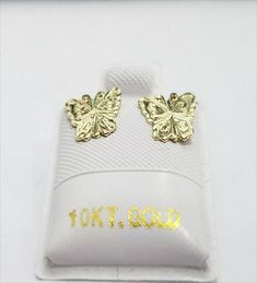 Solid Yellow Gold Butterfly Earrings Unique Pattern Kids Shape Diamond Cut by RG&D Shapes For Kids, Gold Diamond Earrings, Butterfly Earrings, Unique Earrings, Gemstone Colors, Gold Chains, Fashion Earrings, Diamond Cuts, Gemstones