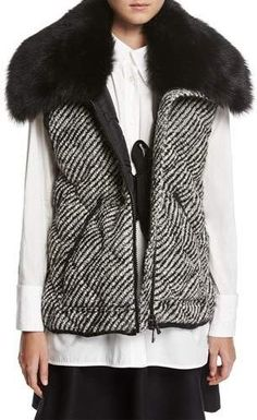 cdec091eb3f Moncler Eleagnus Tweed Quilted Vest w  Fur Trim