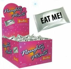Bundle Naughty Mints and Aloe Cadabra Organic Lube Vanilla 2.5Oz by Candyprints LLC. $60.35. Bundle 100 pieces of individually wrapped peppermint candy per display carton. Each wrap has a Naughty message with up to 10 different messages, including; Eat Me!, Cute Butt!, Let's Screw!, Nice Boobs!, Be My Love Slave!, Make Me Hot!, Bend Over!, Let's Make Love!, Lick Me All Over!, I Need You Now! and Aloe Cadabra Organic Lube Vanilla 2.5Oz