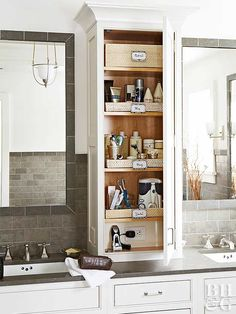 Extend your cabinetry from the vanity countertop to the ceiling to capture vertical storage space. This above-counter unit provides shelving for a cache of cosmetics and other bathroom necessities. The lowest shelf includes a concealed electrical outlet. Bathroom Countertop Storage, Bathroom Vanity Storage, Bathroom Cabinet Organization, Vanity Countertop, Storage Cabinets, Bathroom Counter Cabinet, Bedroom Storage, Storage Organization, Bath Storage