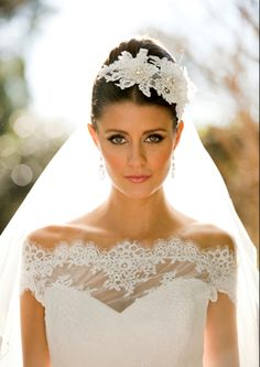 This bespoke lace headpiece is handcrafted with corded French lace, beaded embroidered lace, diamantes and pearls by Elizabeth de Varga Couture Bridal ...Taylor gown www.devarga.com.au