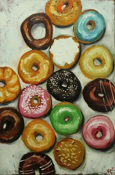 Donuts still life painting 30 24x36 inch original oil painting by Roz