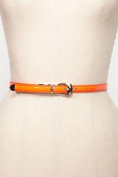 Neon Patent Skinny Belt
