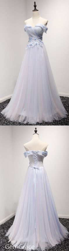 blue off shoulder long prom dress by #GemGrace