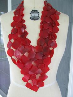 Massive Gerda Lynggaard MONIES Red Nail Multi Strand Necklace