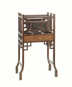 """1890-1900 Indian Magazine rack at the Victoria and Albert Museum, London - From the curators' comments: """"Though it was produced in Bombay, this rosewood and laquer magazine rack was made in the Anglo-Japanese style that became fashionable in Britain beginning in the 1870s....Such products were popular with the many Britons working in government administration and the army in India."""""""