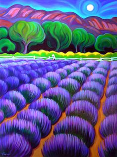 """Moonlight Lavender Harvest"" Tracy Turner New Works Gallery"