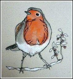 birds in textile art Freehand Machine Embroidery, Free Motion Embroidery, Simple Embroidery, Free Machine Embroidery, Free Motion Quilting, Embroidery Applique, Vogel Quilt, Bird Quilt, Thread Painting
