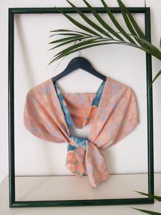 Shochikubai silk scarf (back) -  by Le TANUKI www.etsy.com/shop/LeTanuki