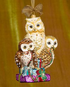 Santa With Owl Christmas Jim Shore ornament from here . Owl Snow Globe Ornament by Anthropologie . Handcrafted Christmas Ornaments, Old World Christmas Ornaments, Christmas Owls, Christmas Gifts, Christmas Decorations, Painted Ornaments, Christmas Images, Globe Ornament, Owl Ornament