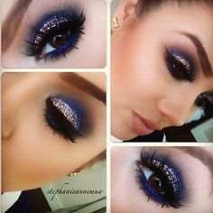 "Love this inky navy & glitter eye for a NYE look. This with my favorite pinky nude lip combo of OCC ""divine"" mixed with MAC ""Myth""."
