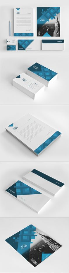 Blue Pattern Stationery Pack. Download here: http://graphicriver.net/item/blue-pattern-stationery-pack/7867560?ref=abradesign #design #stationery