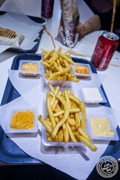 image of french fries and sauces at Le Tacos de Lyon in Grenoble, France