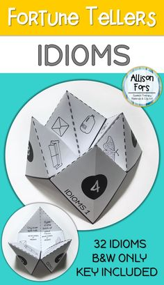 """Engaging fortune tellers or """"cootie catchers"""" to teach the figurative language of idioms in a repetitive, consistent way."""