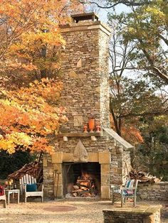 Love this outdoor fireplace.