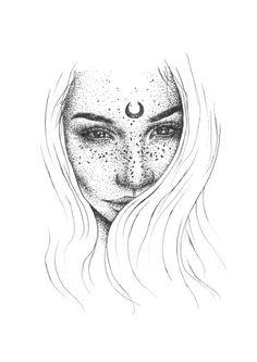 Moon • Tumblr • Girl • Drawing • Grunge • Boho • Sketch