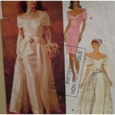 wedding dresses with overskirts | Off Shoulder Wedding Dress Pattern, Overskirt, Fitted, Straight Skirt ...