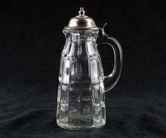 Dalzell Priscilla Syrup Pitcher with Original Lid Antique EAPG c.1888 Moon Star