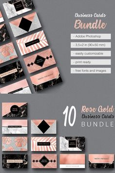 Create your own business cards with these Photoshop templates. Featuring rose gold, marble and black designs they are stunning and really make a statement. Rose Gold Marble, Rose Gold Foil, Gold Business Card, Business Cards, Visiting Card Templates, Create Your Own Business, Photoshop, Alcohol Markers, Calling Cards