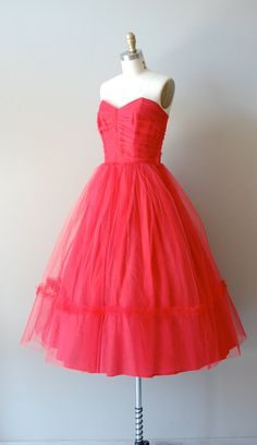 I'm always a sucker for a poofy red dress \\ 1950s dress / strapless tulle 50s dress / Fools Rush by DearGolden, $245.00