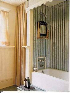 tin shower surround... Soooo cute!!