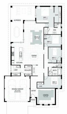 Browse our range of 4 Bedroom House Plans & Home Designs. We have plans to suit a wide range of different block sizes, configurations and frontages. Porch House Plans, Basement House Plans, House Layout Plans, House Plans One Story, Bungalow House Plans, Small House Plans, Modern House Floor Plans, Log Home Floor Plans, Farmhouse Floor Plans