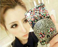 iPhone Hard Case Bling Crystal Colorful Metal Skull $31.99