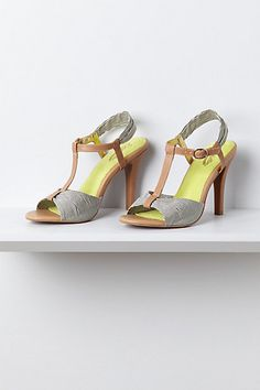 Marina T-Strap Heels by Seychelles - I love the stripes and the yellow insole...only wish these were leather and not rubber!