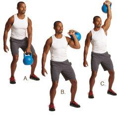 Épaulé développé avec #kettlebell http://www.plaisirssante.ca/ma-sante/sante-des-hommes/4-exercices-essentiels-pour-les-hommes?slide=3#