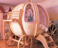 Spoil your little princess with this fairy tale inspired pumpkin carriage bed. Quit reading your daughters those fairy tale stories - because now she can experience it in real life with these hand crafted fantasy beds made with only the highest quality materials.