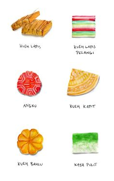 really missing Singapore right now. Dessert Illustration, Hand Illustration, Malay Food, Nasi Lemak, Singapore Food, Food Painting, Food Icons, Malaysian Food, Food Quotes