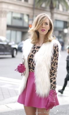 Leopard Love <3 Pink gloves and skirt, white faux fur vest www.fashionaddict.la