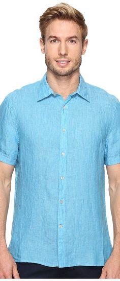 Perry Ellis Short Sleeve Solid Linen Shirt (Mediterranian Blue) Men's Clothing - Perry Ellis, Short Sleeve Solid Linen Shirt, 4BHW3019PS-481, Apparel Top General, Top, Top, Apparel, Clothes Clothing, Gift, - Street Fashion And Style Ideas