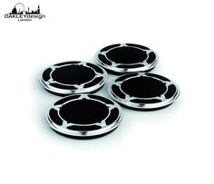 Coasters from gearbox rings with a Corian base. This set of coasters comprises four gearbox dog rings which have been set into machined pieces of CORIAN©. Available in new (gunmetal) finish, lacquered 'race finish' or nickel plate. Red Bull F1, Red Bull Racing, F1 Racing, Coaster Design, Coaster Set, David Coulthard, Mark Webber, Race Around The World, Create And Craft