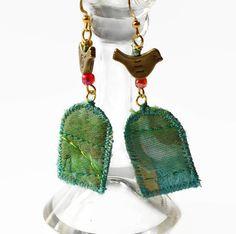 BOHO TEXTILE EARRINGS, hippie jewellery, festival jewellery, upcycled earrings…